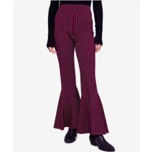 Free People Burgundy Pin Stripe Bell Bottom Pants